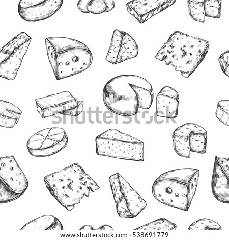 Seamless pattern with different types of cheese. Vector hand drawn
