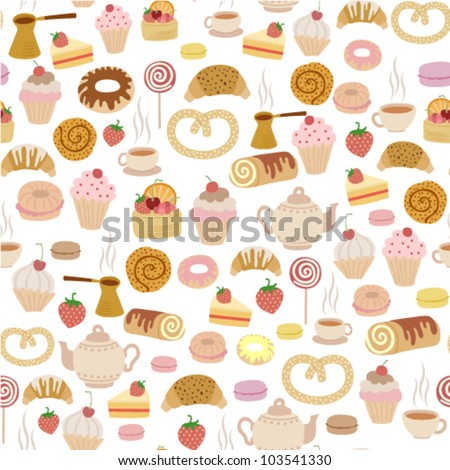 seamless pattern with different types of pastries