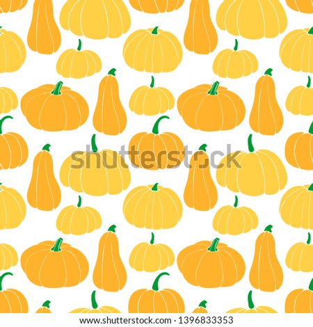 Seamless pattern with different varieties of pumpkins. bottle gourd; cinderella variety; butternut.
