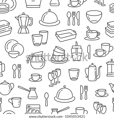 Seamless pattern with dish and plates. Black and white thin line icons