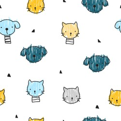Seamless pattern with dog and cat. Kids simple print. Vector hand drawn illustration.