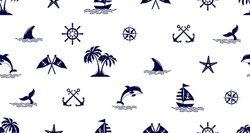 Seamless pattern with Dolphin,sailing, anchor and starfish.Cute Marine pattern for fabric, baby clothes, background, textile,wrapping paper and other decoration.Vector illustration