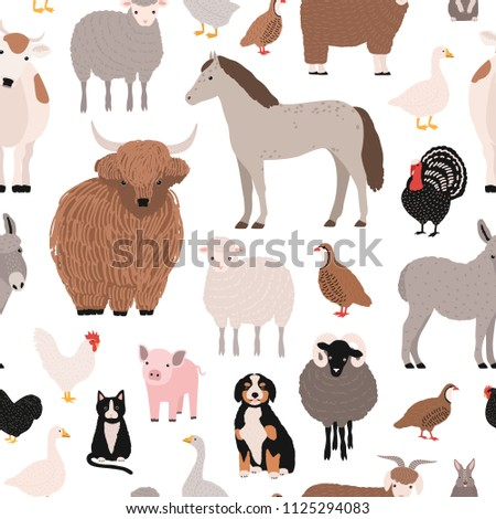 Seamless pattern with domestic farm barnyard animals and birds on white background. Backdrop with livestock and fowl. Cartoon hand drawn vector illustration for wrapping paper, textile print.