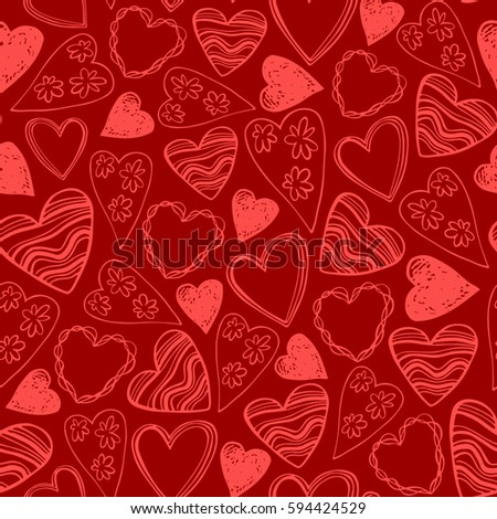 Seamless pattern with doodle chalk hearts. Romantic concept seamless pattern.