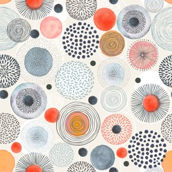 Seamless pattern with doodle circles randomly distributed, vector abstraction illustration.