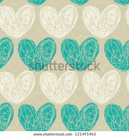 Seamless pattern with doodle hearts. Template for design and decoration