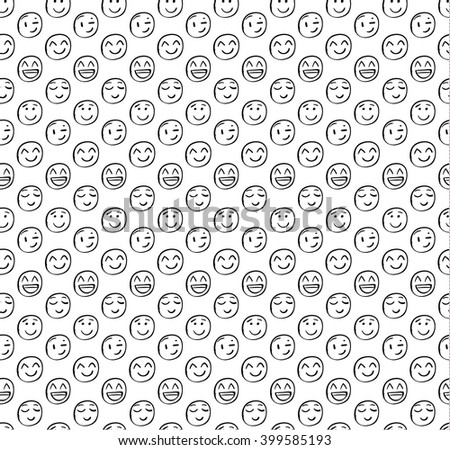 Seamless pattern with doodled smiles. Outline drawings. VECTOR background. Different faces on white , black lines.