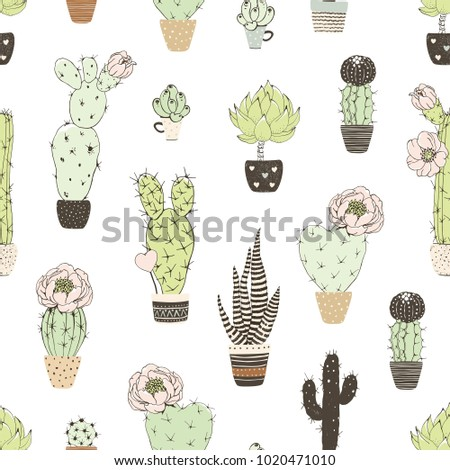 Seamless pattern with doodles blossom cactuses in flowers pots. Vector floral illustration on white background.