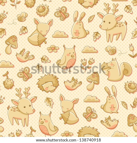 seamless pattern with doodles of forest animals jpeg is available in my gallery