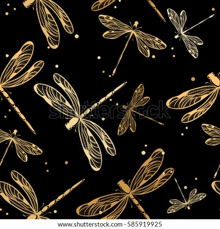 Seamless pattern with dragonflies on black background. Vector illustration.