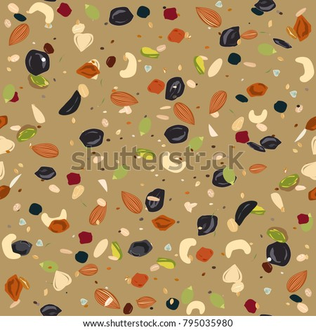Seamless pattern with dried fruits, nuts, oatmeal, and seeds. Healthy and eco food, granola background. #795035980