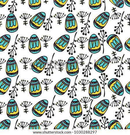 Seamless pattern with easter eggs and natural design. Happy Easter theme. Hand drawn vector illustration with spring doodle elements. Sketch background for prints, T-shirt.