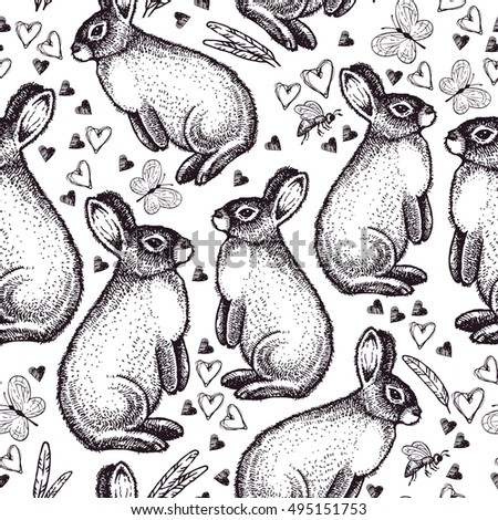 Seamless pattern with easter rabbit. Seamless vintage pattern with ink hand drawn Easter  bunny, bee, flower, butterfly. Easter theme.