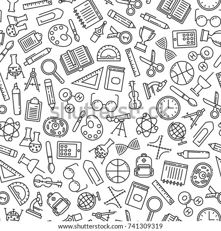 seamless pattern with education design elements