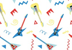 Seamless pattern with electric guitars in retro style 2