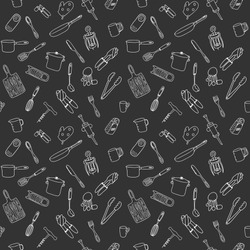 Seamless pattern with elements of kitchen utensils, utensils and appliances. Black-white background for menu design,brochures, web pages.Doodle illustration is hand drawn and isolated on dark.Vector