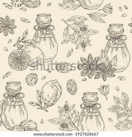 Seamless pattern with essential oil: neroli oil, star anise, lime oil and nut meg. Cosmetic, perfumery and medical plant. Vector hand drawn illustration. Stock fotó ©