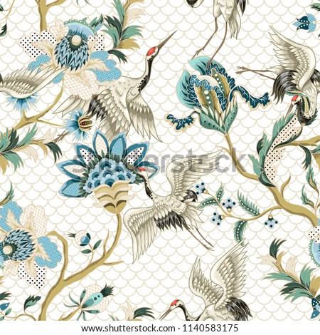 Seamless pattern  with ethnic Japanese ornament elements and cranes.