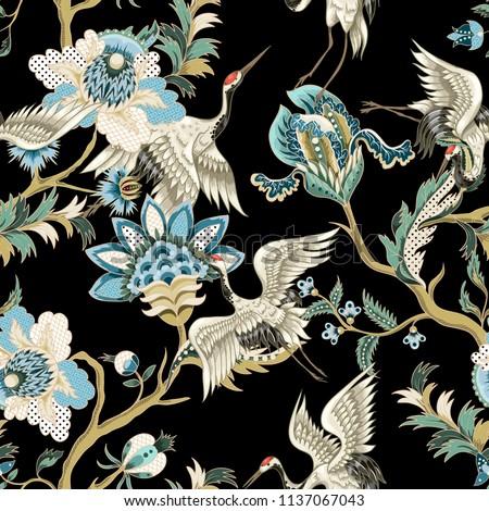 Seamless pattern  with ethnic Japanese ornament elements and cranes. Folk flowers and leaves for print or embroidery.
