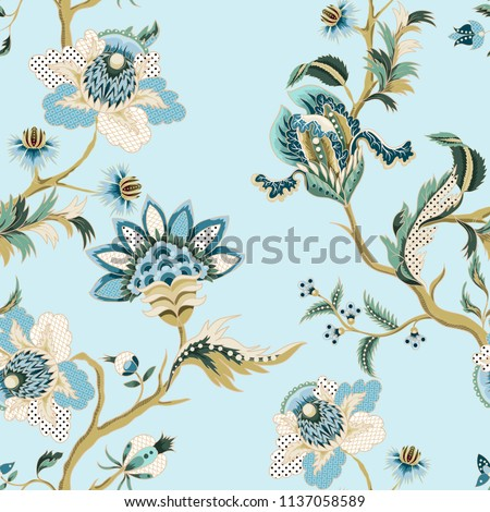 Seamless pattern with ethnic Japanese ornament elements. Folk flowers and leaves for print or embroidery.