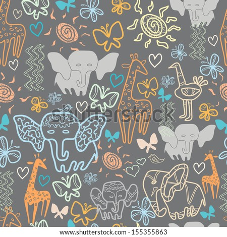 Seamless pattern with exotic animals