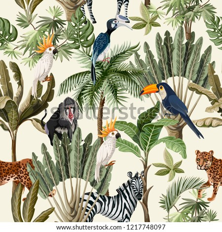 Seamless pattern with exotic trees and animals.  #1217748097