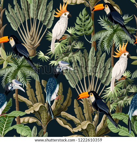 Seamless pattern with exotic trees and wild bird, parrots and toucans.