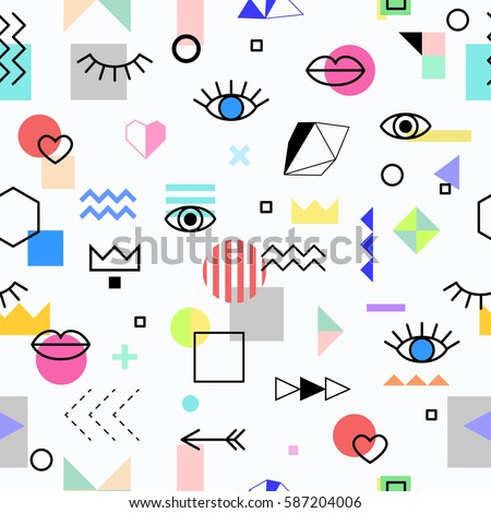 Seamless pattern with eyes and lips and geometric elements. The template for the cover fabric, books. Memphis style