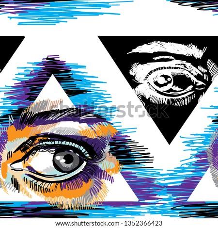 seamless pattern with eyes eye