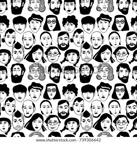 seamless pattern with faces of people #739306642
