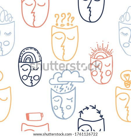 Seamless pattern with faces with different facial expressions. Mental health, psychological state.  Foto stock ©