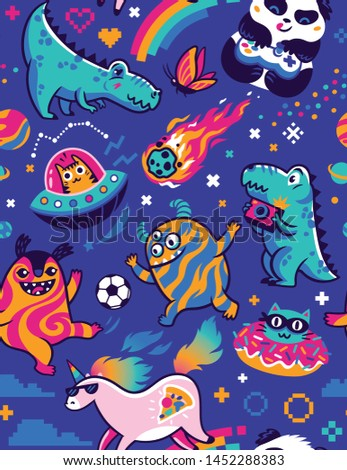 Seamless pattern with fantasy animals, cosmic aliens, cool unicorn, panda gamer and other. Vector illustration