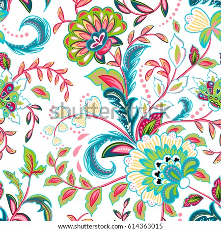 Seamless pattern with fantasy flowers, natural wallpaper, floral decoration curl illustration. Flower print hand drawn elements. Home decor. Bright colorful pattern on white