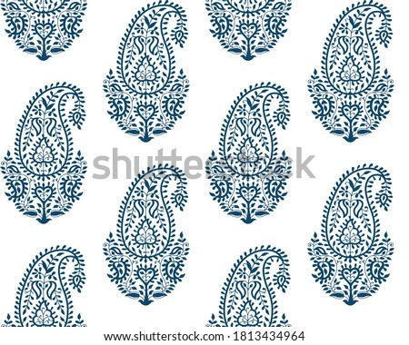 Seamless pattern with fantasy paisley, natural wallpaper, floral decoration curl illustration. Paisley print hand drawn elements. Home decor,textile
