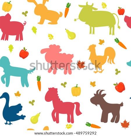 Seamless pattern with farm animals, vegetables, leaves and fruits. Vector illustration
