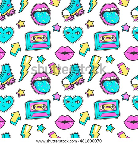 Seamless pattern with fashion patch badges with cassette, roller skates, lightning, hearts and other elements.Vector background with stickers, pins, patches in cartoon 80s-90s comic style.