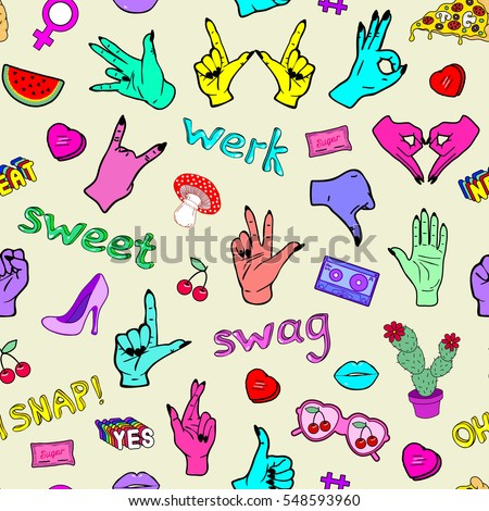 Seamless pattern with fashion patch badges with hand gestures, slang words, phrases, mushrooms, shoes, hearts, cactus, cherries, mixtape, watermelon, etc. Vector illustration.  #548593960