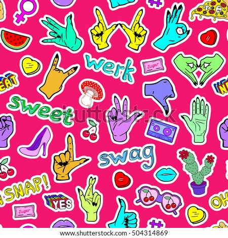 Seamless pattern with fashion patch badges with hands, slang words and phrases, etc. Vector illustration. Bright red background. Wallpaper with stickers, pins, patches in cartoon 80s-90s comic style. #504314869