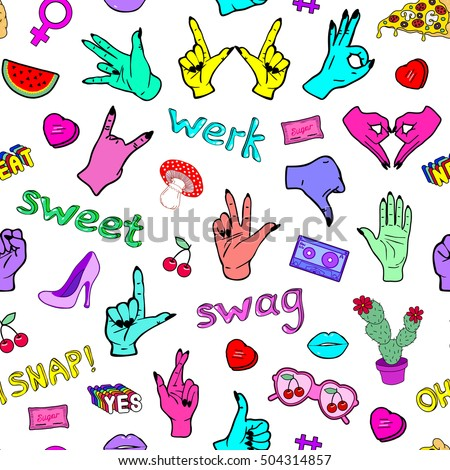 """Seamless pattern with fashion patch badges with hands, slang words and phrases """"Oh snap!"""", """"Swag"""", """"Werk"""", """"Sweet"""" and hand gestures. White background with patches in cartoon 80s-90s comic style. #504314857"""