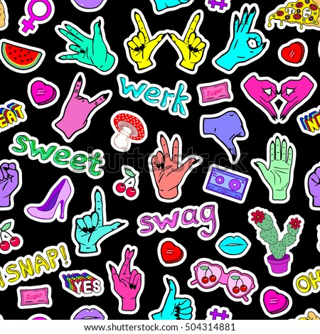 """Seamless pattern with fashion patch badges with hands, slang words and phrases """"Oh snap!"""", """"Swag"""", """"Werk"""", """"Sweet"""" and hand gestures. Black background with patches in cartoon 80s-90s comic style. #504314881"""