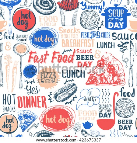 seamless pattern with fastfood