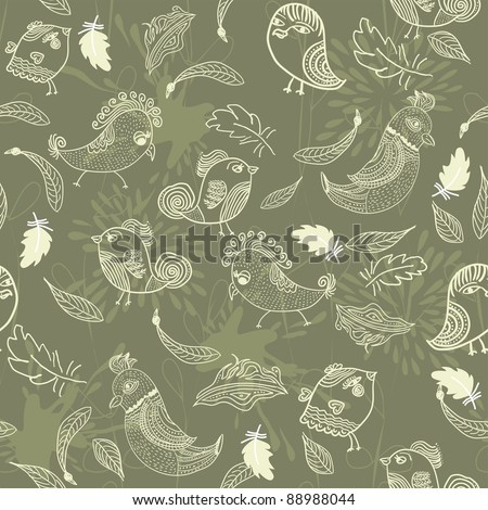 Seamless pattern with  feathers and birds