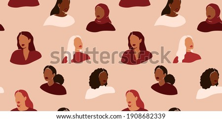 Seamless pattern with female faces in a paper cut style. Repeatable background with women of different cultures and ethnicity. Flat vector illustration