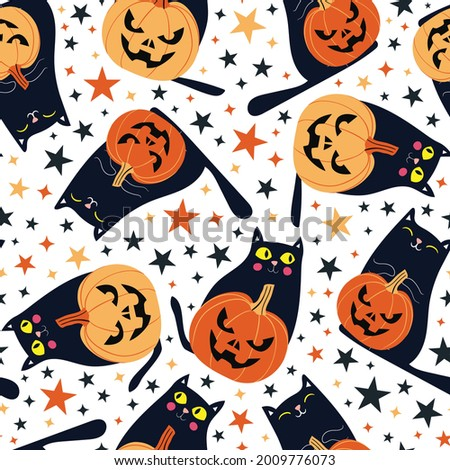 Seamless pattern with festive Halloween cats and pumpkins. Black kittens with jack o lanterns. Repeat tile swatch stars on white background for scrapbook, fabric, wrapping paper