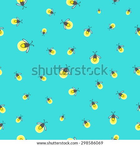 seamless pattern with fireflies