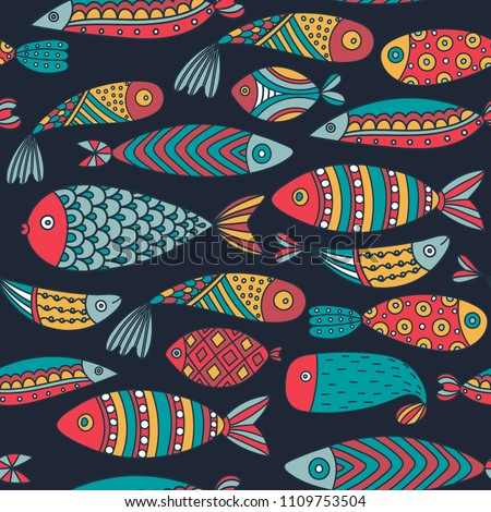 Seamless pattern with fishes. Hand drawn undersea world. Colorful artistic background. Aquarium. Can be used for wallpaper, textiles, wrapping, card, cover. Vector illustration, eps10