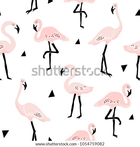 Seamless pattern with flamingo and hand drawn shapes. Creative kids texture for fabric, wrapping, textile, wallpaper, apparel. Vector illustration