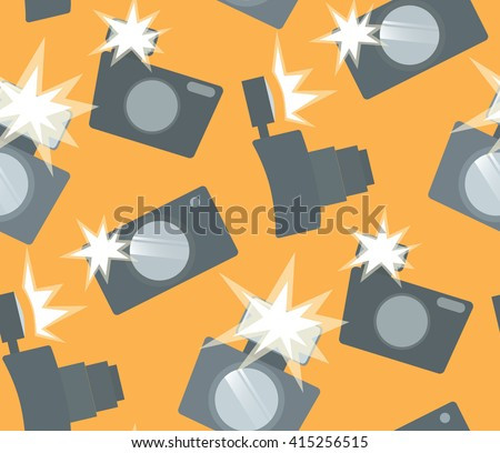Seamless pattern with flat cameras with flash. Vector background for your creativity