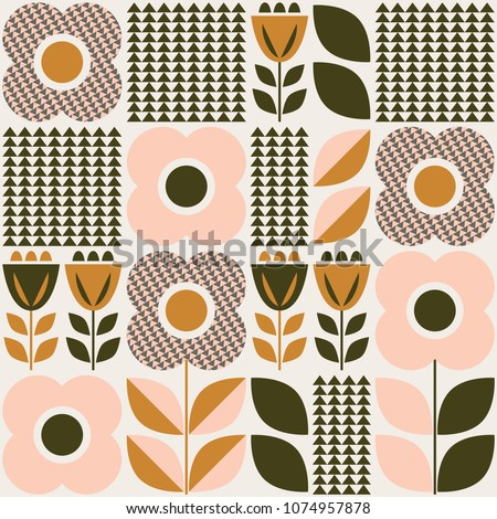 seamless pattern with floral elements in retro scandinavian style Stock photo ©