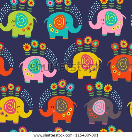 seamless pattern with floral elephants -  vector illustration, eps